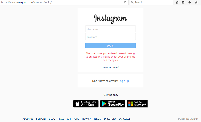 instagram login, sign up online