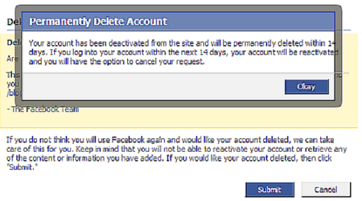 how to delete facebook
